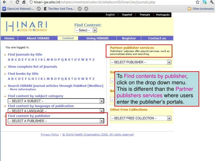 to find contents by publisher click on the drop n.