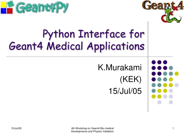 python interface for geant4 medical applications n.