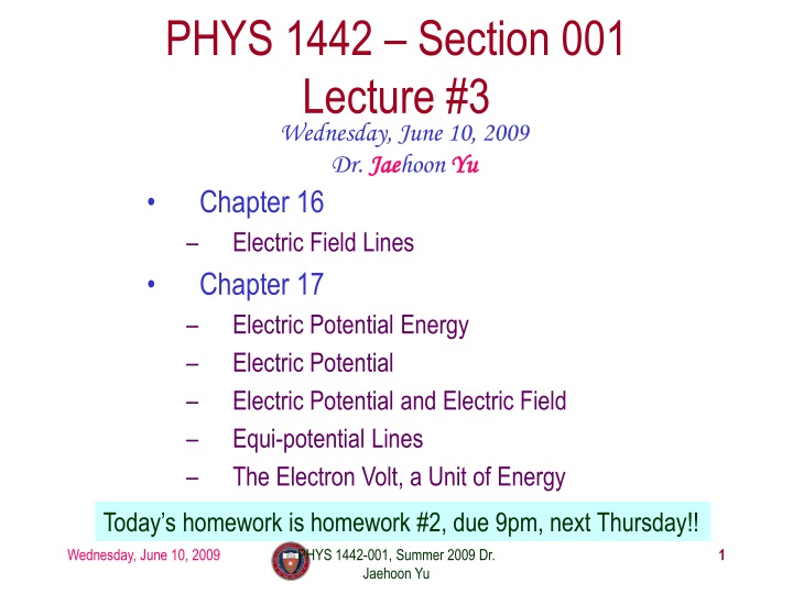 phys 1442 section 001 lecture 3 n.