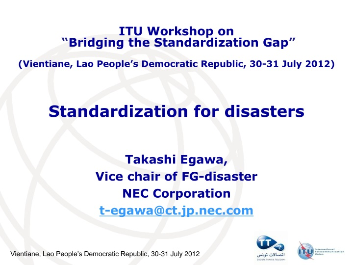 standardization for disasters n.