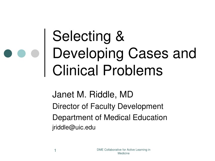 selecting developing cases and clinical problems n.
