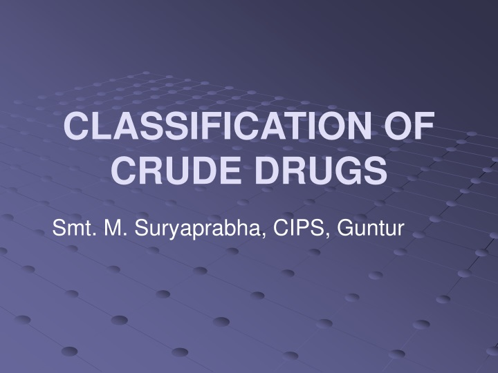 classification of crude drugs n.