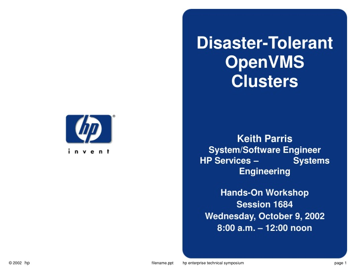 disaster tolerant openvms clusters keith parris n.