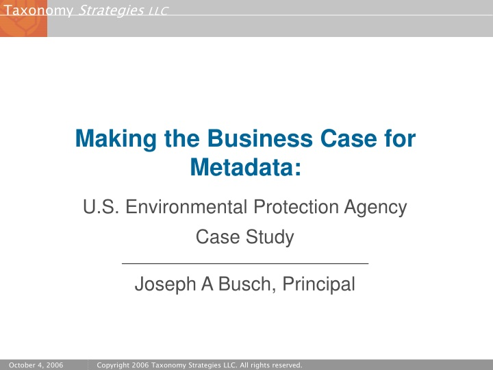 making the business case for metadata n.