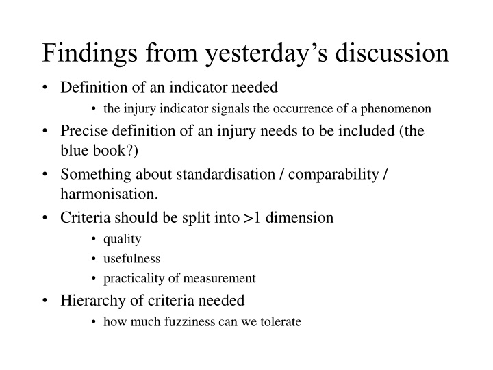 findings from yesterday s discussion n.