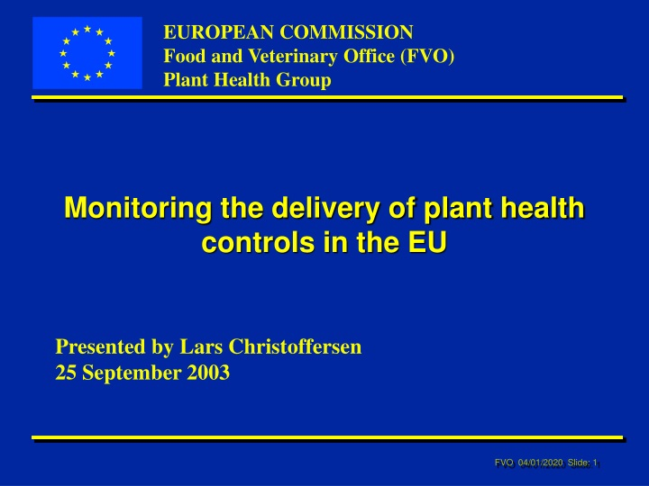 monitoring the delivery of plant health controls in the eu n.