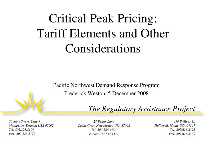 critical peak pricing tariff elements and other considerations n.
