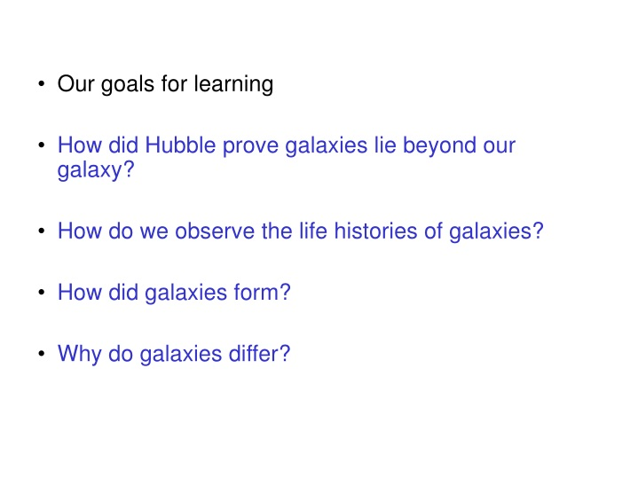 our goals for learning n.