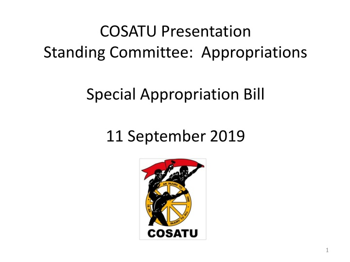 cosatu presentation standing committee appropriations special appropriation bill 11 september 2019 n.