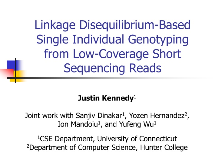 linkage disequilibrium based single individual genotyping from low coverage short sequencing reads n.
