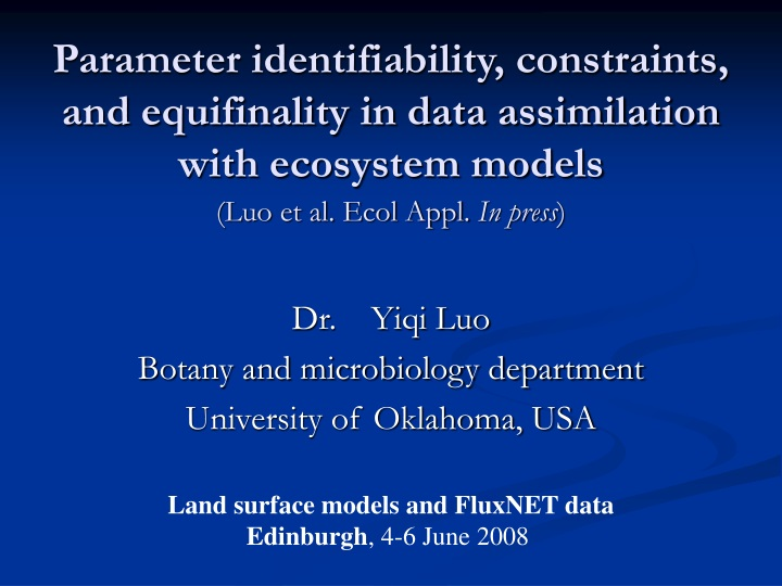 parameter identifiability constraints and equifinality in data assimilation with ecosystem models n.