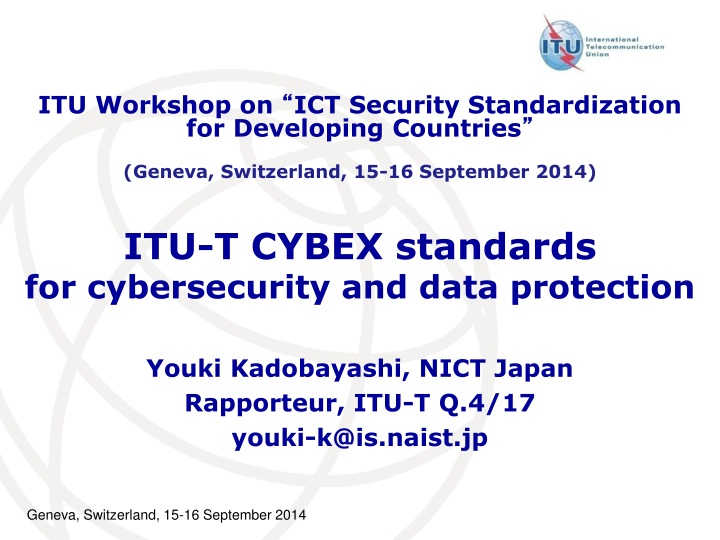 itu t cybex standards for cybersecurity and data protection n.