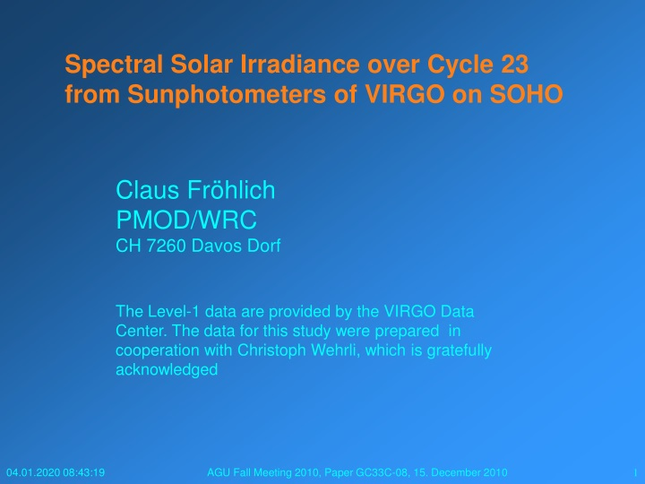 spectral solar irradiance over cycle 23 from sunphotometers of virgo on soho n.