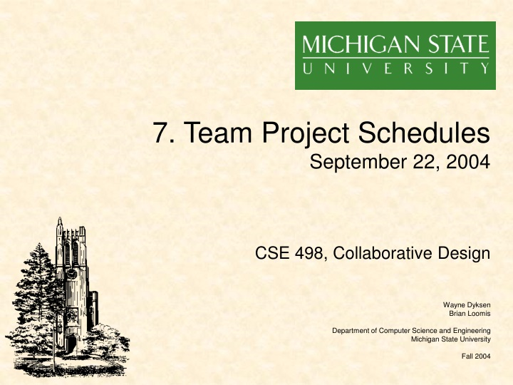 7 team project schedules september 22 2004 n.