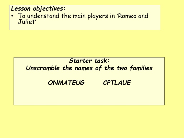 lesson objectives to understand the main players n.