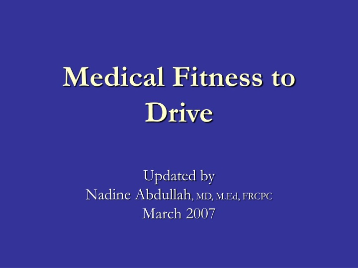 medical fitness to drive n.