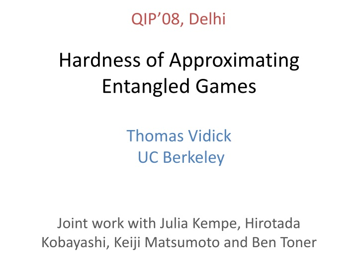 hardness of approximating entangled games n.