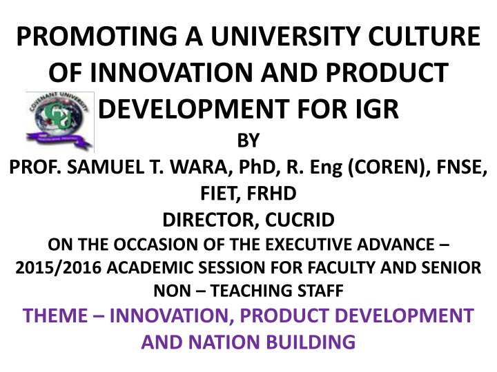 promoting a university culture of innovation n.