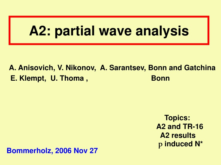 a2 partial wave analysis n.