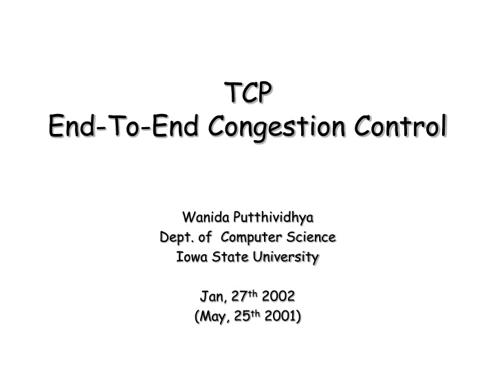 tcp end to end congestion control n.