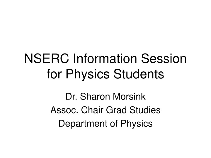 nserc information session for physics students n.