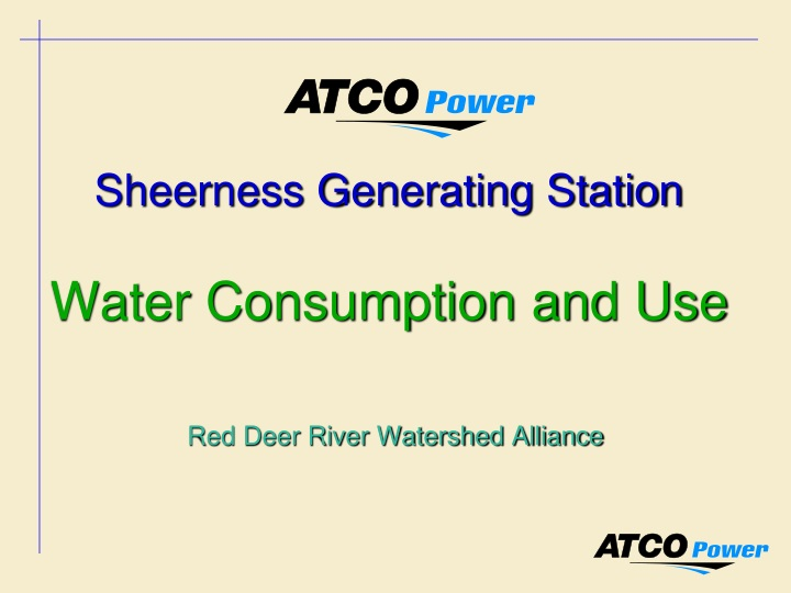 sheerness generating station water consumption and use n.