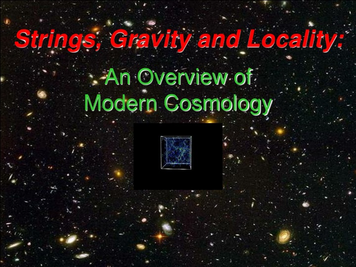 strings gravity and locality n.