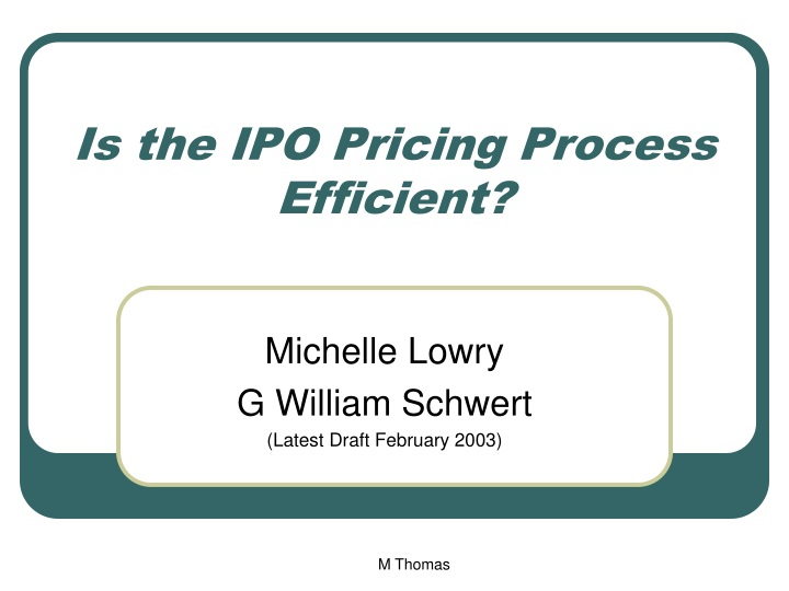 is the ipo pricing process efficient n.