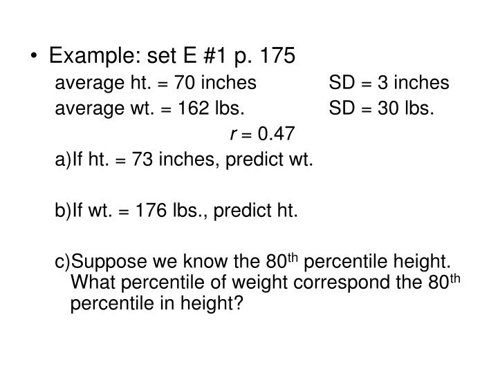 example set e 1 p 175 average ht 70 inches n.