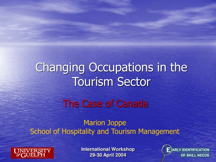 changing occupations in the tourism sector n.