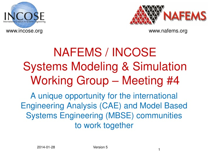 nafems incose systems modeling simulation working group meeting 4 n.