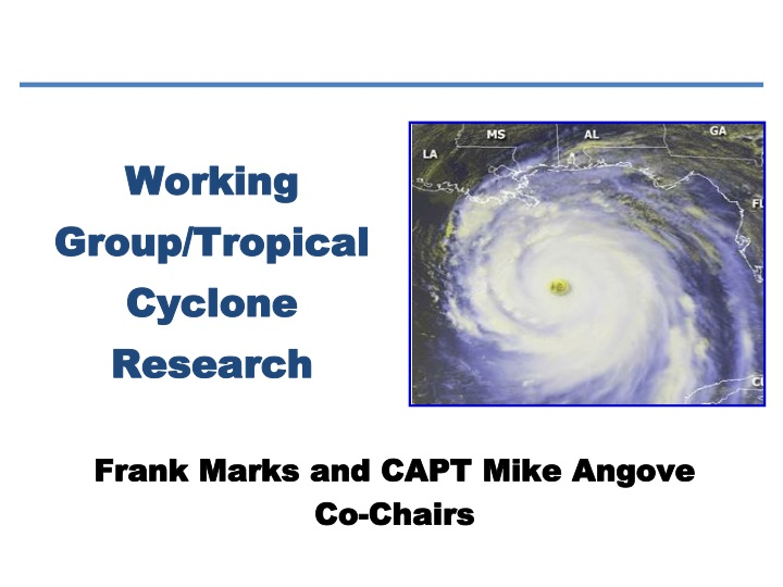 working group tropical cyclone research n.