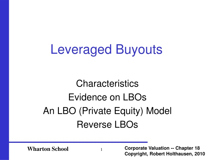 leveraged buyouts n.
