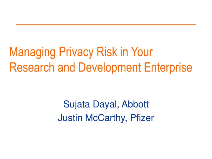 managing privacy risk in your research and development enterprise n.