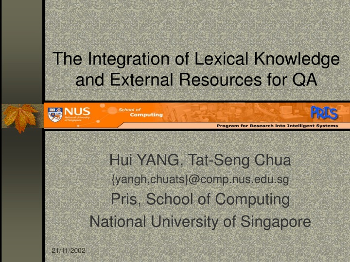 the integration of lexical knowledge and external resources for qa n.