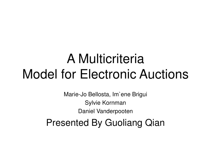 a multicriteria model for electronic auctions n.