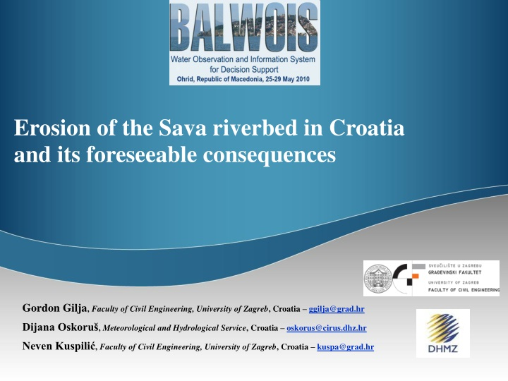 erosion of the sava riverbed in croatia and its foreseeable consequences n.