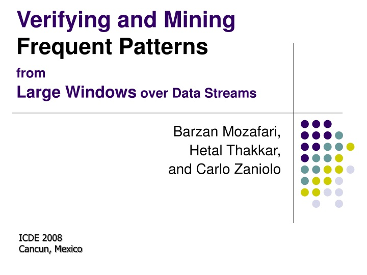 verifying and mining frequent patterns from large windows over data streams n.