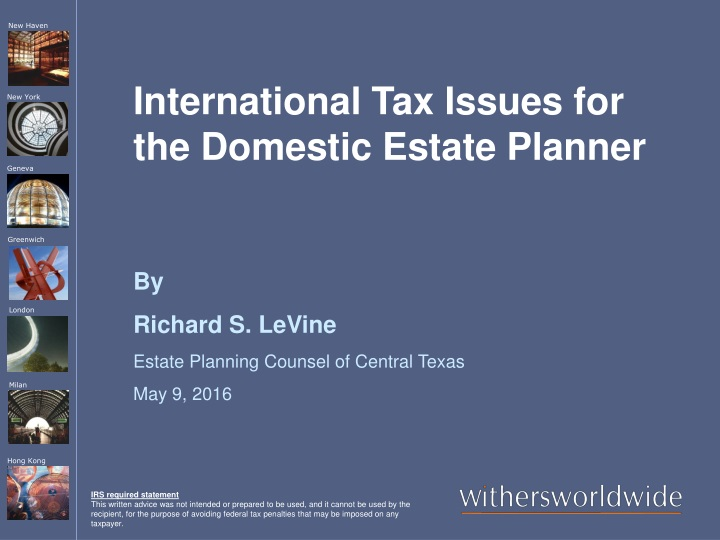 international tax issues for the domestic estate planner n.