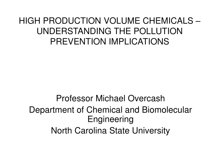 high production volume chemicals understanding the pollution prevention implications n.