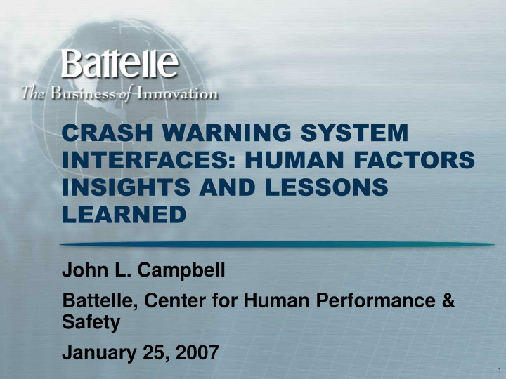 crash warning system interfaces human factors insights and lessons learned n.