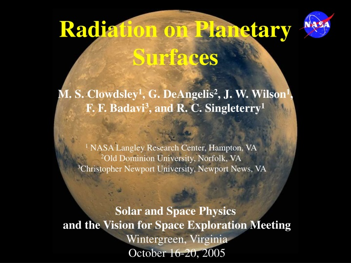 radiation on planetary surfaces n.
