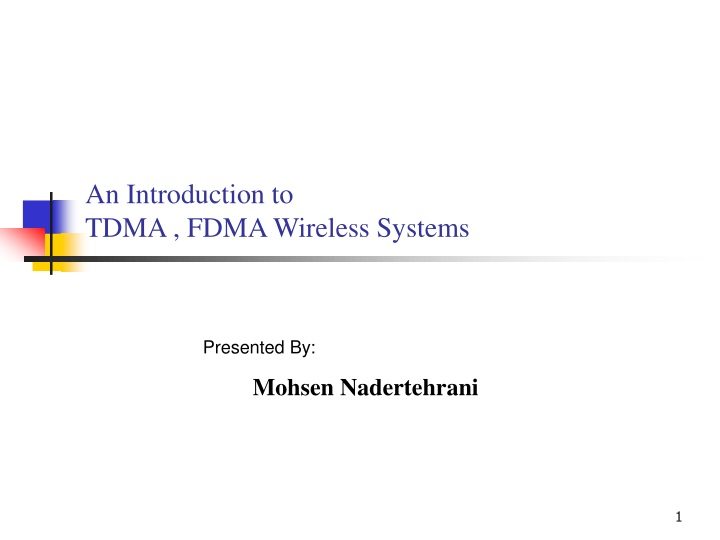 an introduction to tdma fdma wireless systems n.