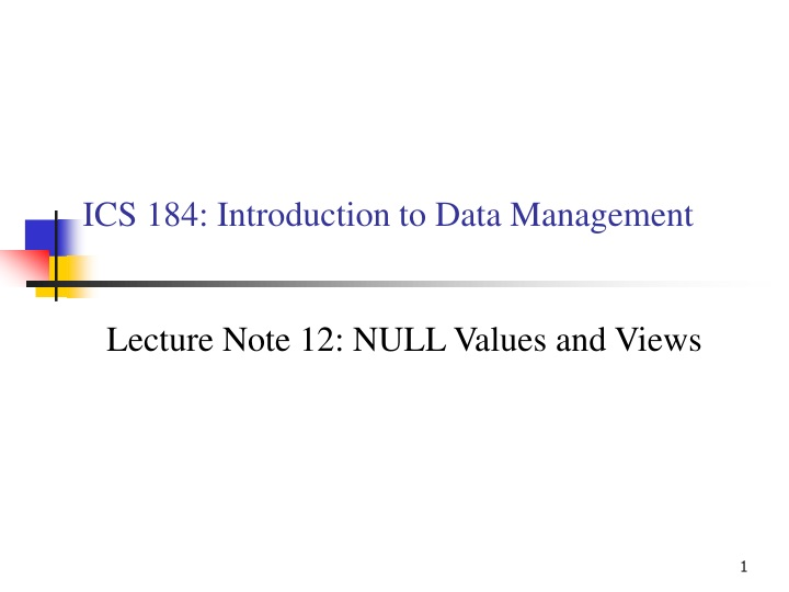 ics 184 introduction to data management n.