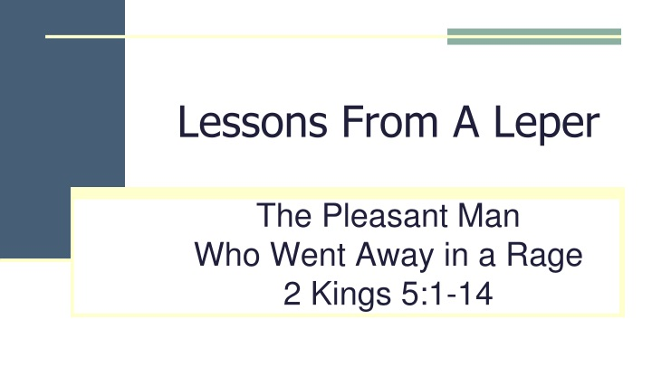 lessons from a leper n.