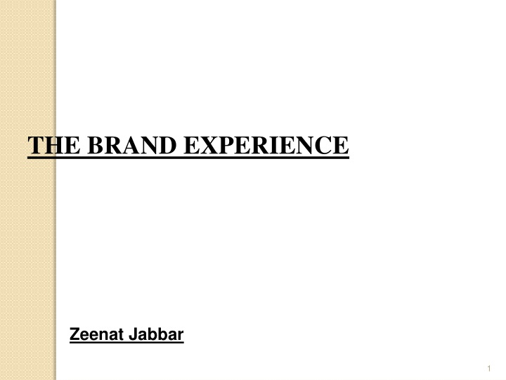 the brand experience n.