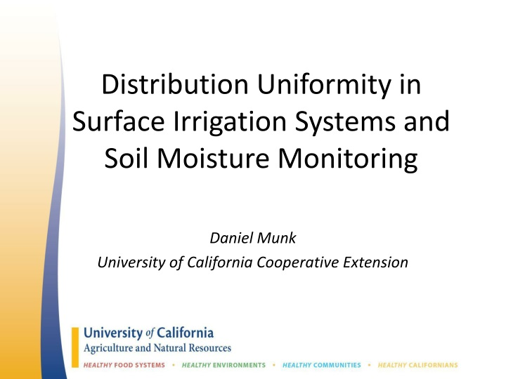 distribution uniformity in surface irrigation systems and soil moisture monitoring n.