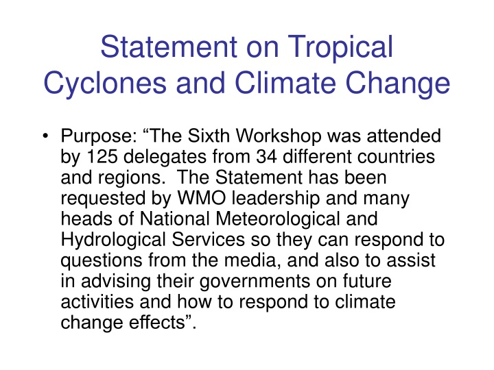 statement on tropical cyclones and climate change n.