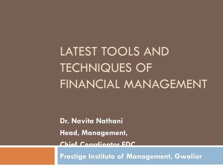 latest tools and techniques of financial management n.