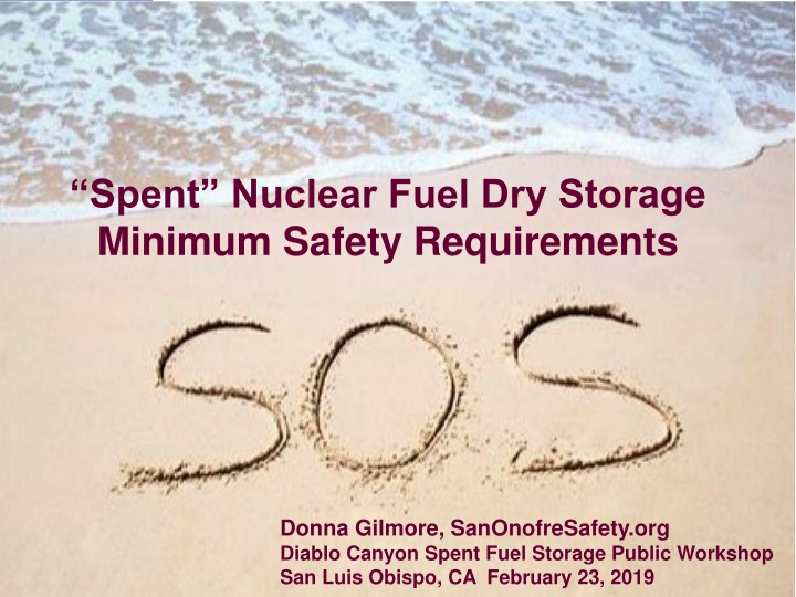 spent nuclear fuel dry storage minimum safety requirements n.